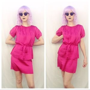 Hot Pink Vintage Peplum Dress Puff Sleeves